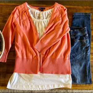 GAP Coral Button Cardigan with Pocket